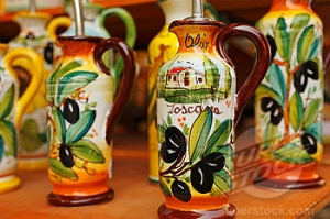 Ceramic olive oil bottles on display, Central Market, Florence, Italy